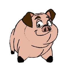 cute pig animal farm domestic nature image vector image