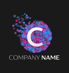 Letter c logo with blue purple pink particles vector