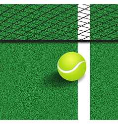 Tennis ball next to the line of the tennis court vector image vector image