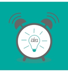 Alarm clock with idea light bulb icon Flat design vector image vector image