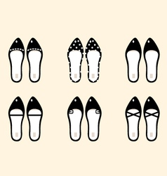Black retro female shoes collection vector image