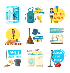 house or room cleaning flat desing vector image