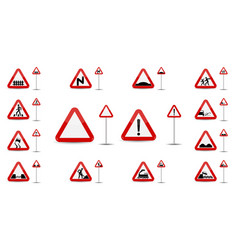 sign warning slippery road in red triangle is a vector image