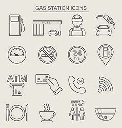 16 fuel station line icons Monochrome color vector image