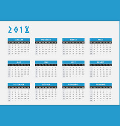 2018 year calendar horizontal design vector image