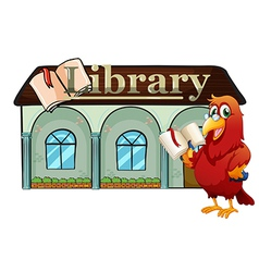 A parrot holding a book outside library vector