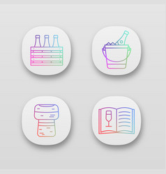 alcohol app icons set vector image