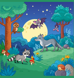 Background with animals in night forest vector