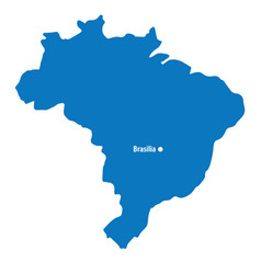 Blank blue similar brazil map with capital city br vector