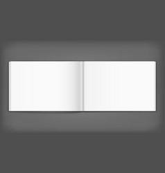 Blank of open album on grey background template vector