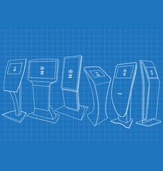 blueprint of six promotional information kiosk vector image