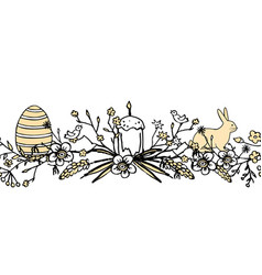 boder for easter with floral wreath with egg bird vector image