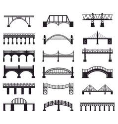 Bridge construction silhouette river vector
