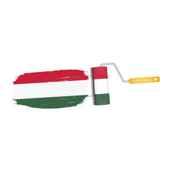 brush stroke with hungary national flag isolated vector image