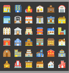 building construction flat icon set 33 vector image