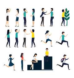 Bundle business people with set icons vector