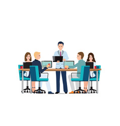 business man presenting with laptop computer vector image