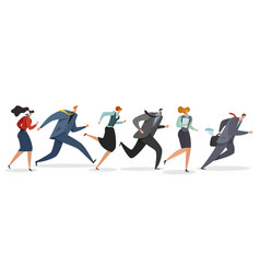 Business team running persons waving flag and vector
