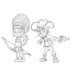 Cartoon indian boy with bow cowboy character set vector