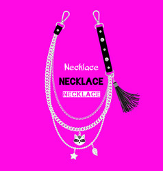 chains necklace with raccoon pendant vector image