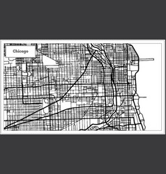 chicago illinois usa map in black and white color vector image