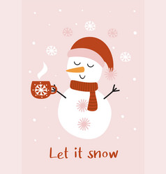 christmas card with cute snowman and a cup tea vector image