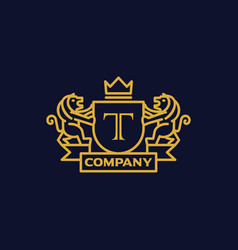 Coat of arms letter t company vector