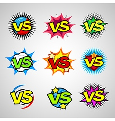 Comic book versus vintage sign icon set vector
