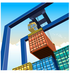 Crane and containers vector