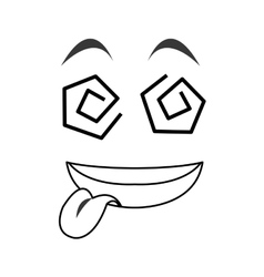 Crazy tongue out emoticon face icons vector