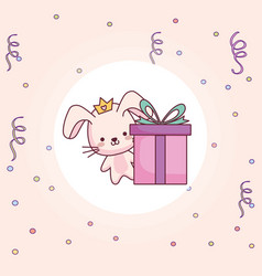 cute and little rabbit with gift vector image