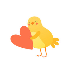 cute baby chicken holding big red heart funny vector image