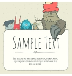Cute doodle monster greeteng or invitation card vector image
