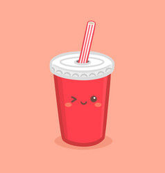 cute red soda cola paper cup cartoon vector image