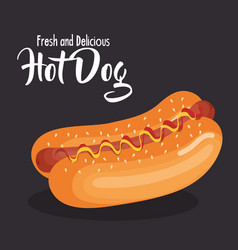 delicious hot dog fast food vector image