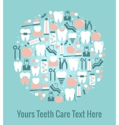 Dental Care Graphics Arranged in Circular Pattern vector image vector image