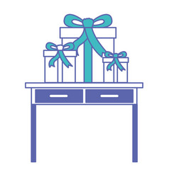 Desk table with drawers front view with gifts vector