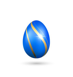 easter egg 3d icon gold blue egg isolated white vector image