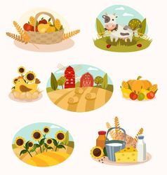 Eco farm flat icons vector image