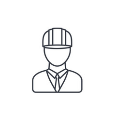 engineer avatar architect in helmet thin line vector image