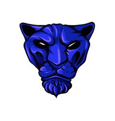 face a drawn blue tiger vector image