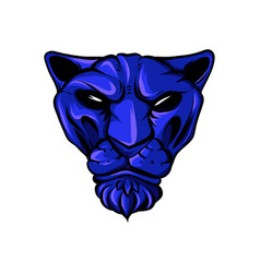 Face of a drawn blue tiger vector