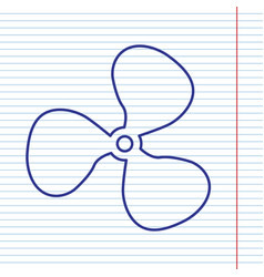 fan sign navy line icon on notebook paper vector image
