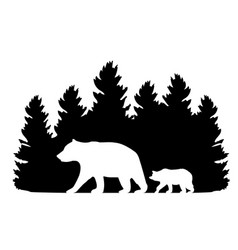 forest with bears vector image