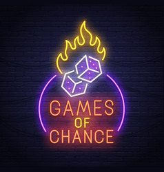 games of chance neon sign neon sign casino logo vector image