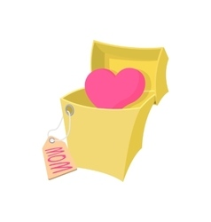 Gift box with a pink heart cartoon icon vector image