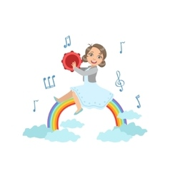 Girl Playing Tambourine With Rainbow And Clouds vector