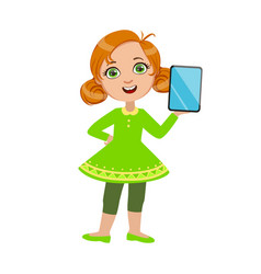 Girl standing showing her tablet part kids and vector