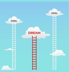 goal and dream dream under goals mindset visual vector image