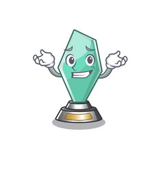 Grinning acrylic trophy isolated with mascot vector